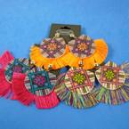 "2"" Wood Print Earring w/ Fringes Mixed Colors .54 ea pair"
