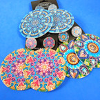 "2.5"" Wood Print Earring 2 Part Mixed Prints   .54 ea pair"