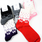 Ladies Festive Snowflake Theme Knit Socks Asst Colors  .60 per pair