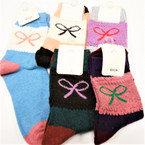Ladies Multi Color Crew  Knit Socks Asst Colors  .60 per pair