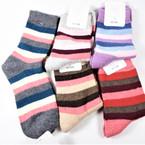 Ladies Multi Color Crew  Knit Socks Asst Colors  (514) .62 per pair