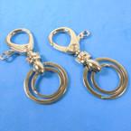"""3"""" DBL Silver Ring Clip On Key Chain 12 per pk  .52 ea"""
