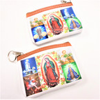 """3.5"""" X 5"""" Zipper Coin Purse DBL Side Print Guadalupe Picture Theme  .56 each"""
