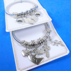 Silver Spring Style Bracelet w/ Best Friend  Theme Charms   .58 each