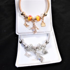 Classy Gold & Silver Spring Style Bracelet w/ Colorful Beads & Dress Up Charms  .58 each