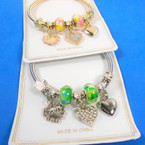 Gold & Silver Spring Style Bracelet w/ Color Beads & Heart Charms (3002)    .58 each