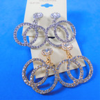 Bling Effect DBl Circle Crystal Stone CLIP ON Earrings  .56 per pair