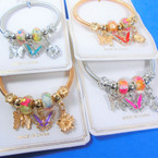 Gold & Silver Spring Style Beaded Bracelet w/Colorful Butterfly Charm (3832)  .58  each