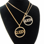 "20"" Gold & Silver Chain Necklace Sets w/ Cry. Stone Circle w/ Queen .58 ea set"