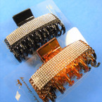 "3.5"" Blk & Brown Fashion Jaw Clips w/ Mini Crystals  .56 each"