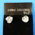 10MM Heart Shaped Cubic Zirconia Earrings  .55 each pair