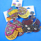 """3"""" Lightweight Colorful Oval Wood Fashion  Earrings  .54 each pair"""