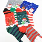 Christmas Crew Socks  6 styles per dz (74661) .60 per pair