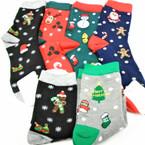 Christmas Crew Socks  6 styles per dz (74665) .60 per pair