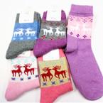 Ladies Festive Reindeer Theme Knit Socks Asst Colors (72518)  .60 per pair
