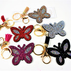 "3"" Crystal Stone Butterfly  Bling Keychains w/ Tassel & Clip 12 per packk .62 ea"