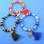 Crystal Bead Stretch Bracelet w/ Hamsa & Tassel 3 colors .56 each