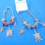 Pandora Style Charm Bracelets Silver w/ Colored Bead & Turtle  Charm .56 each