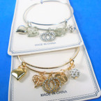 Gold & Silver Wire Bangle Bracelet w/ Mixed Heart Charms & Fireball Bead .58  ea