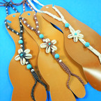 Foot Jewelry Adj. Macrame Anklet w/ Toe Ring Cowrie Shell Flower   $ 1.00 each