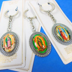 Metal Guadalupe Picture Keychains 3 styles carded  .54 ea