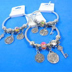 Silver Spring Style Beaded Bracelet w/ Silver  San Benito Charm   .58  each