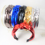 "1.5"" 6 Color Metallic  Fashion Headbands w/ Knot .58 each"