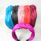 "1.5"" 6 Color Solid Satin Fashion Headbands w/ Knot .56 each"
