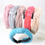 "1.5"" 6 Color Pleated Fabric  Fashion Headbands w/ Knot .58 each"
