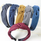 "1.5"" Houndstooth Fabric  Fashion Headbands w/ Knot .58 each"