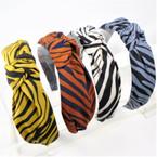 "1.5"" Fall Color Zebra Print Fashion Headbands w/ Knot .56 each"