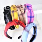 "1.5"" Plaid  Pattern  Fashion Headbands w/ Knot .58 each"