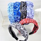 "1.5"" Bright Bandana Print  Fashion Headbands w/ Knot .56 each"