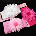 "KId's 2.5"" Stretch Headband w/ Layered Flower Bow 3 colors 12 per pk"