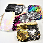 "4"" X 5"" DBL Sided Sequin Zipper Coin Purse w/ Keychain .66 each"