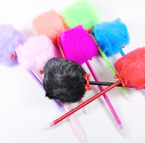 "FUN 9"" Asst Color Pens w/ 3"" Faux Fur Pom Pom .55  each"