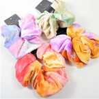 Large Size Soft Velvet Tye Dye Hair Scrungi Mixed Colors .58 each