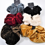 Large Size Soft Fabric  Velvet Hair Scrungi Mixed Fall  Colors .58 each
