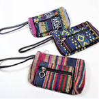 "5"" Aztec/TRibal Wooven Theme 2 Zipper Bag Wrislet .58 ea"
