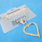 Silver Link Toggle Bracelet w/ Big Cry. Stone Heart  12 per pk .56 ea