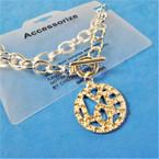 Silver Link Toggle Bracelet w/  Cry. Stone LOVE Pendant  12 per pk .56 ea