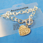 Silver Link Toggle Bracelet w/ Cry. Stone Heart Charm 12 per pk .56 ea