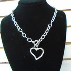 "18"" Silver Link Necklace w/ Crystal Stone Wavy Heart  Pendant . 58 each"