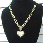 "18"" Gold Link Necklace w/ Crystal Stone Heart  Pendant . 58 each"