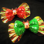 "5.5"" Shiney Holiday Gator Clip 2 Layer Bow w/ Silly Reindeer  .56 each"