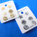 3 Pair Gold & Silver Stainless Steel Earrings Trees, Star Theme  .56 per set
