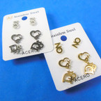 3 Pair Gold & Silver Stainless Steel Earrings Mixed Group .56 per set