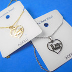 Gold & Silver Stainless Steel TE AMO MAMA Pend. Necklace   12 per pk  .58 each