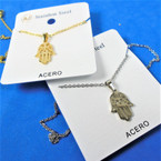 Gold & Silver Stainless Steel Hamsa Pend. Necklace   12 per pk  .58 each