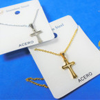 Gold & Silver Stainless Steel Open Cross Pend. Necklace   12 per pk  .58 each